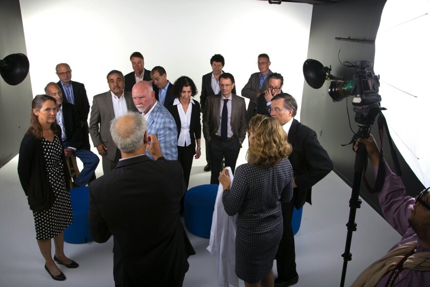 More than a dozen of San Diego's top scientists participated in a photo shoot Wednesday at the Union-Tribune's new offices on B Street in downtown San Diego.