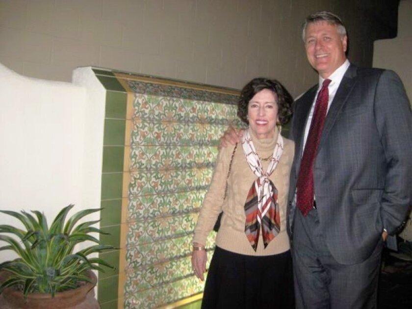 Peggy Brooks and John Vreeburg, RSFHS president, at the dedication of the David R. Brooks Memorial Fountain.