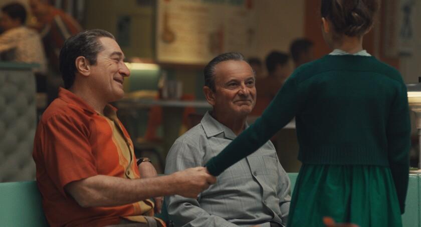 "Robert De Niro and Joe Pesci star in ""The Irishman,"" Martin Scorsese's new drama about hitman Frank ""The Irishman"" Sheeran (De Niro) and the role he played in the disappearance of union leader Jimmy Hoffa (Al Pacino)."