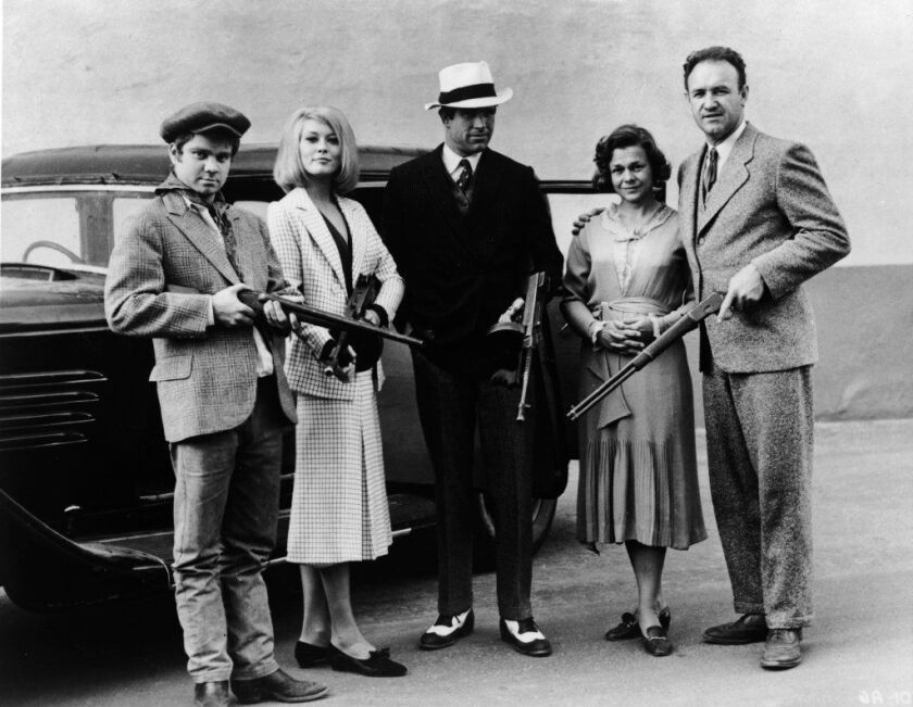 """Michael J. Pollard with cast of """"Bonnie and Clyde"""""""