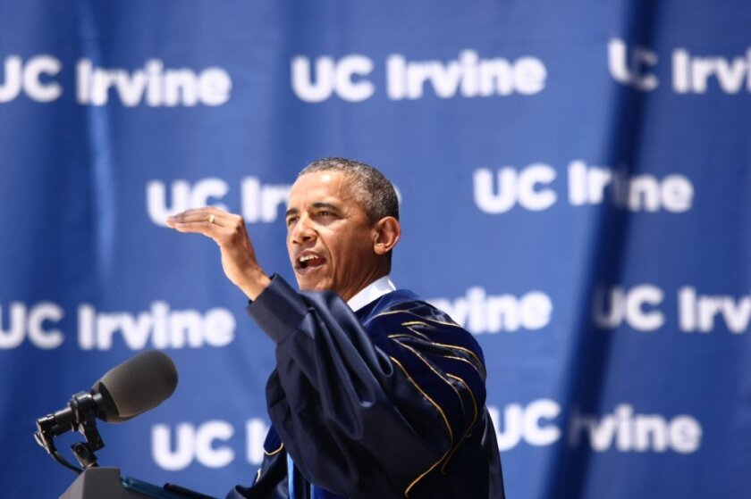 President Obama speaks at UC Irvine's class of 2014 commencement ceremony at Angels Stadium in Anaheim on Saturday.