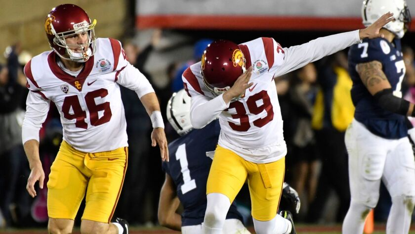 Trojans junior Matt Boermeester (39) celebrates kicking the game-winning field goal with a 'Dab' in USC's 52-49 victory against Penn State.