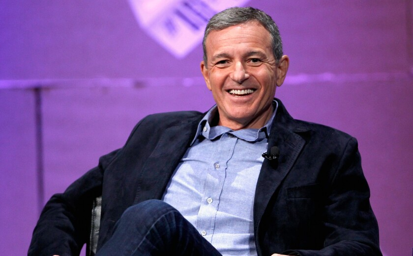 """Walt Disney Co. Chief Executive Robert Iger speaks at the Vanity Fair New Establishment Summit in San Francisco on Friday. Entertainment industry changes are unpredictable, so, Iger said: """"Let's focus on making great things and the rest will take care of itself."""""""