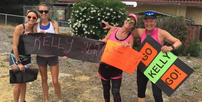(L-R) Marissa Earle, Meriah Earle, Ramona marathoner Kelly Van Zant Maine and Kathy Pierce Linenberger.