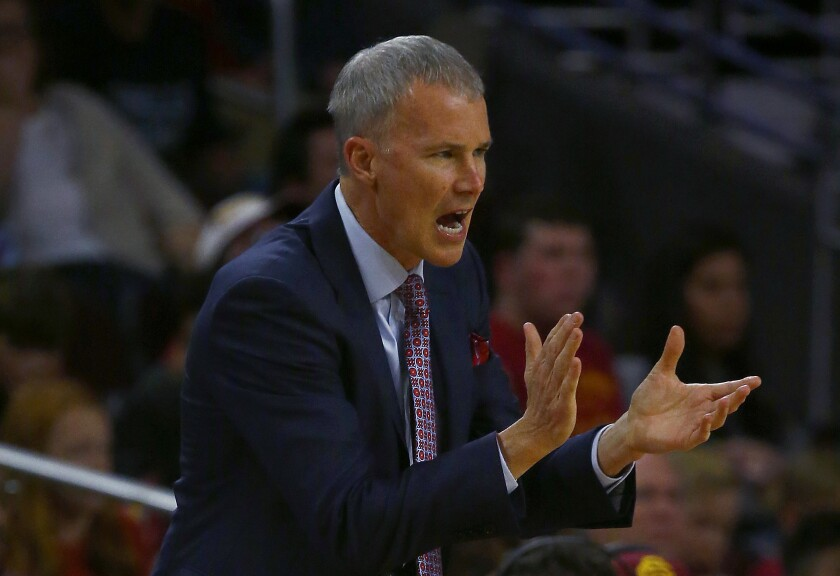 USC coach Andy Enfield directs his team against Pepperdine at Galen Center in Los Angeles on Nov. 19, 2019.