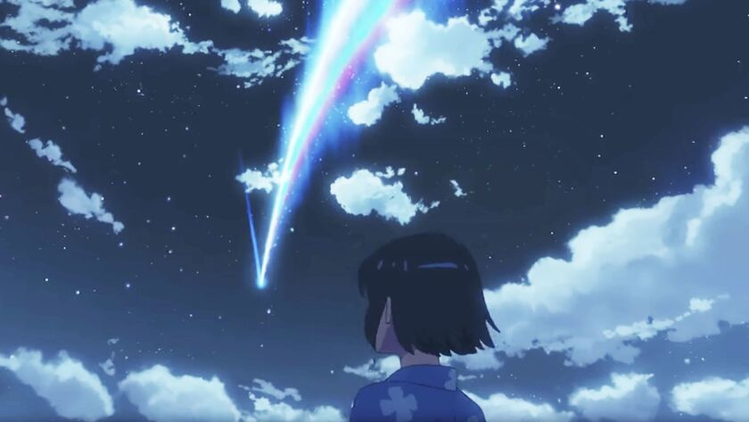 "Scene from the animated movie ""Your Name."""