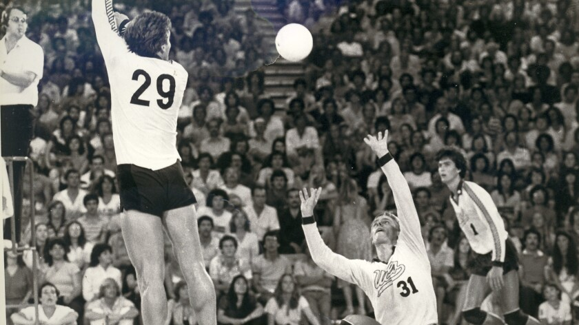 Karch Kiraly, No. 31, makes a set during his UCLA days. He's a nominee for the Southern California Indoor Volleyball Hall of Fame.