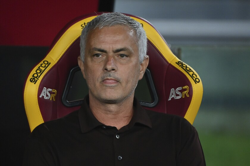 Roma's head coach Jose Mourinho looks on during the Italian Serie A soccer match between Roma and Sassuolo at the Olympic stadium in Rome Sunday, Sept. 12, 2021. (Alfredo Falcone/LaPresse via AP)