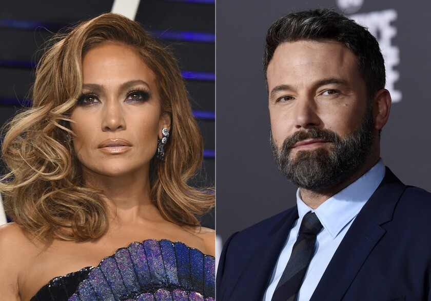 """Jennifer Lopez arrives at the Vanity Fair Oscar Party in Beverly Hills, Calif., on Feb. 24, 2019, left, and Ben Affleck appears at the premiere of """"Justice League"""" in Los Angeles on Nov. 13, 2017. The A-listers rekindled their romance 17 years after they broke up in 2004. (AP Photo)"""
