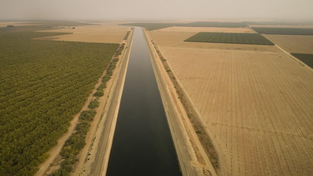 The California Aqueduct brings water through Cantua Creek.