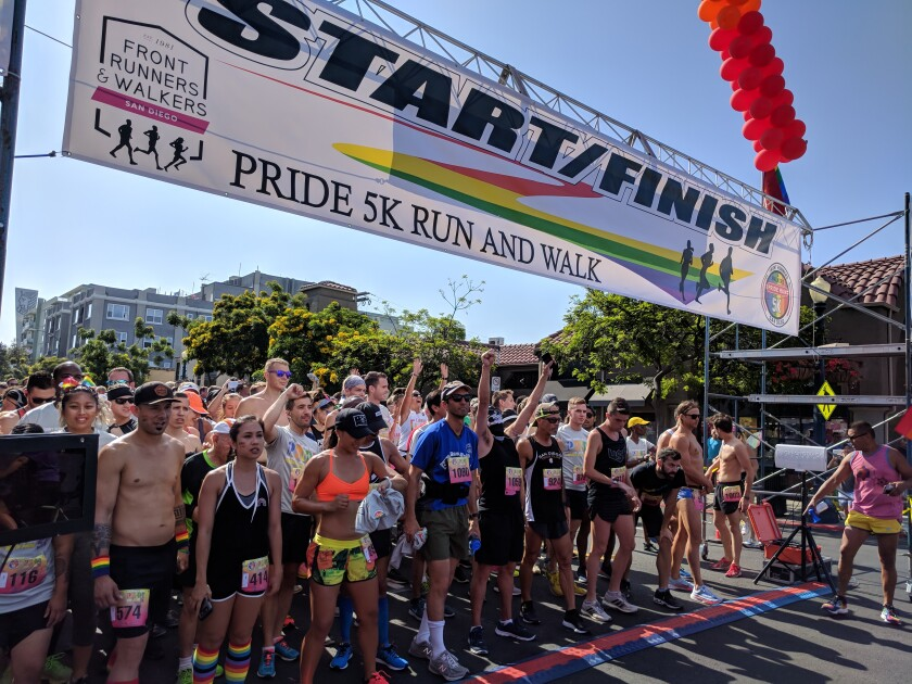 The San Diego Pride 5K, pictured in 2018, is a virtual event this year.