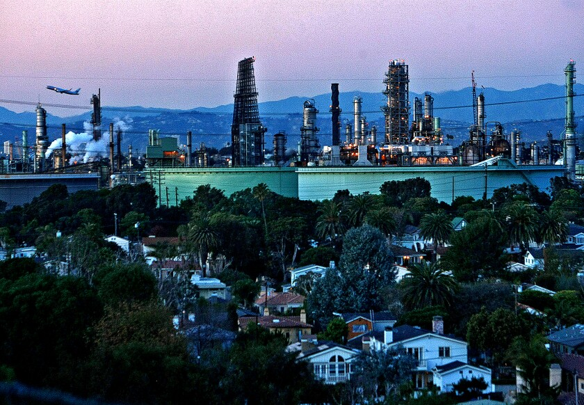 The Chevron oil refinery in El Segundo, Calif., is seen on Jan. 13, 2011.