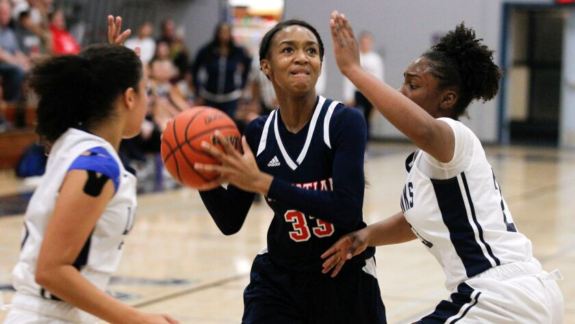 SAN DIEGO, February 2, 2018 | Christian's Simone James looks toward the basket while under pressure