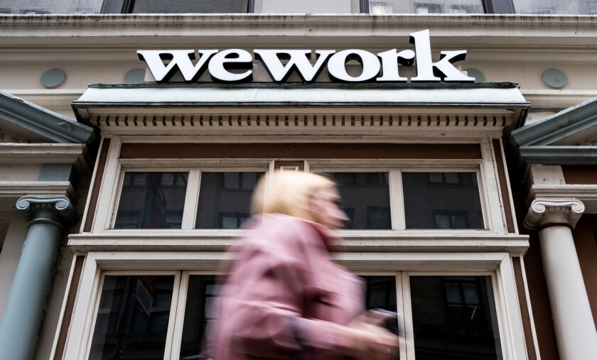 View of a WeWork office space in New York