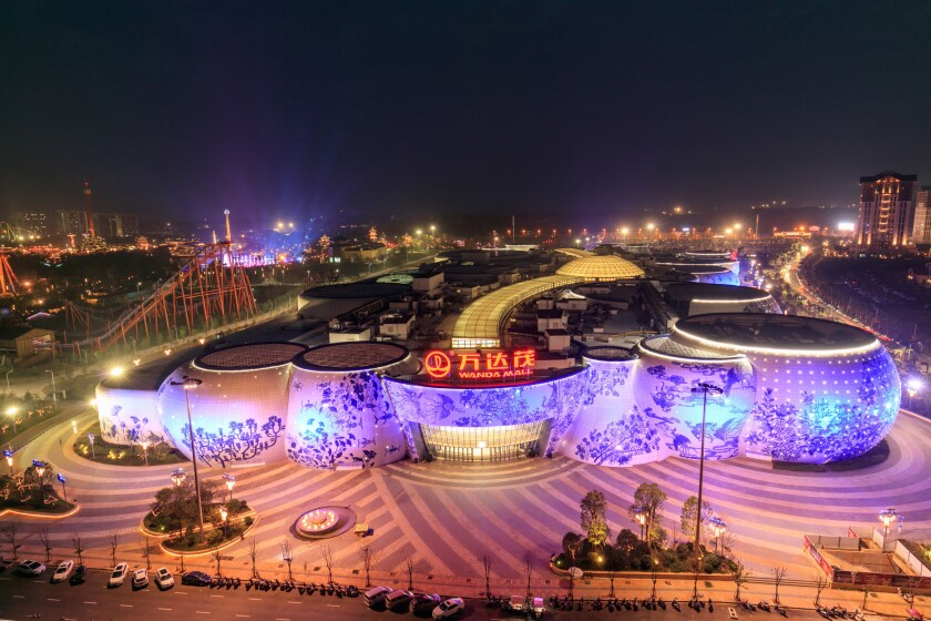The world's first Wanda Mall and theme park demonstration zone made by Wanda Group is illuminated on Sept. 3, 2016, in Nanchang, Jiangxi Province, in China.