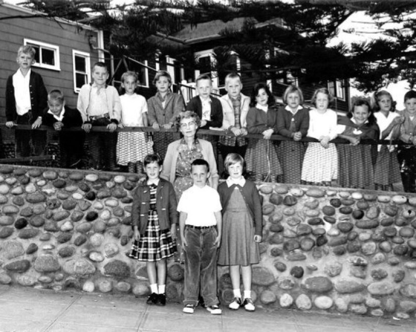 An undated class photo from the Balmer School at Wisteria Cottage taken along Eads Avenue. Courtesy La Jolla Historical Society