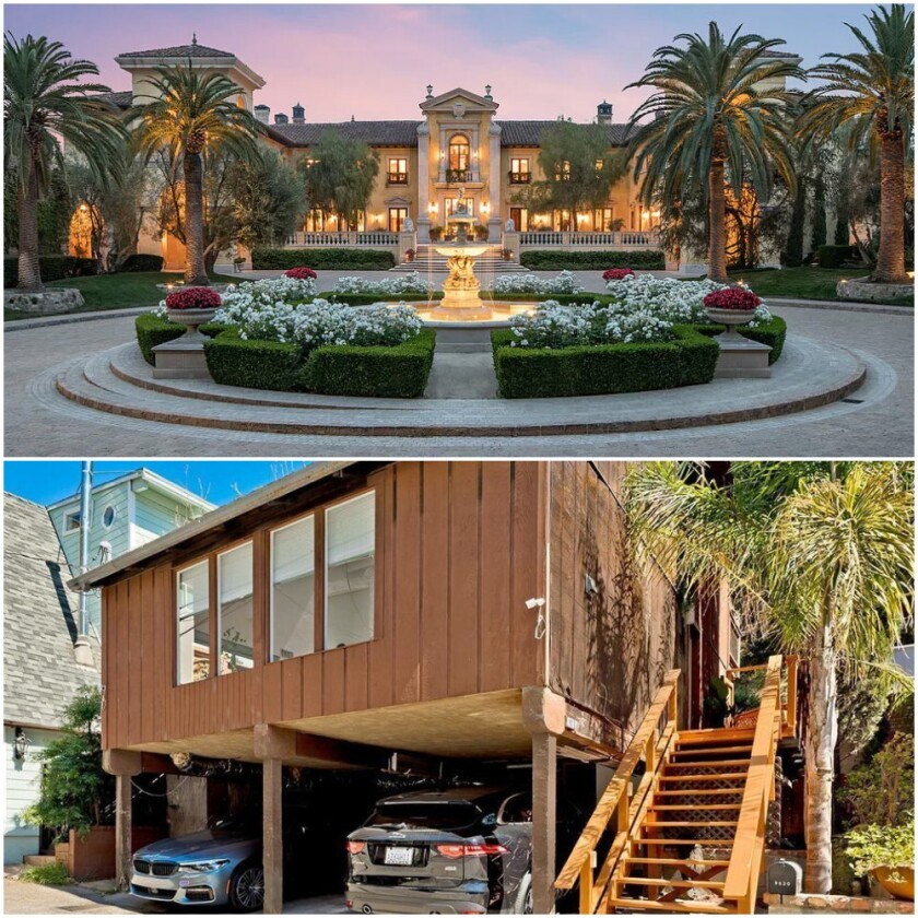 Beverly Hills' priciest home, above, costs $160 million. The cheapest, below, costs $929,000.
