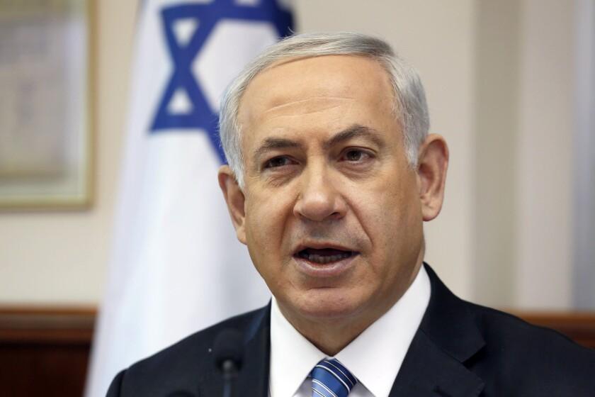 Israeli Prime Minister Benjamin Netanyahu in his office Sunday in Jerusalem.