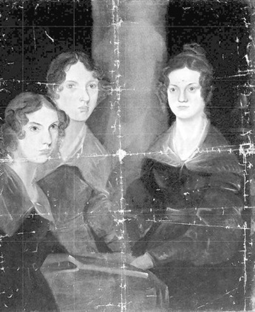 Bramwell Brontës' portrait of his sisters painted in oils in 1833-4. Anne, left, Emily and Charlotte.
