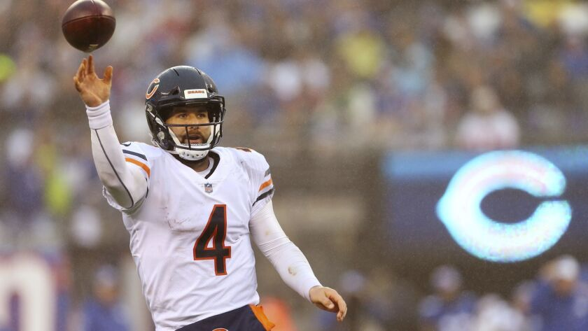Chicago Bears quarterback Chase Daniel (4) in action against the New York Giants in an NFL football