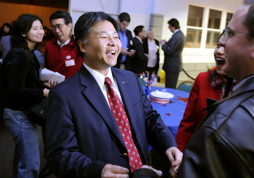 State Sen. Ted Lieu, shown after winning his seat in 2010, won decisive support from Democrats at a pre-endorsement conference, giving him strong odds of winning the California Democratic Party's backing at its upcoming convention.