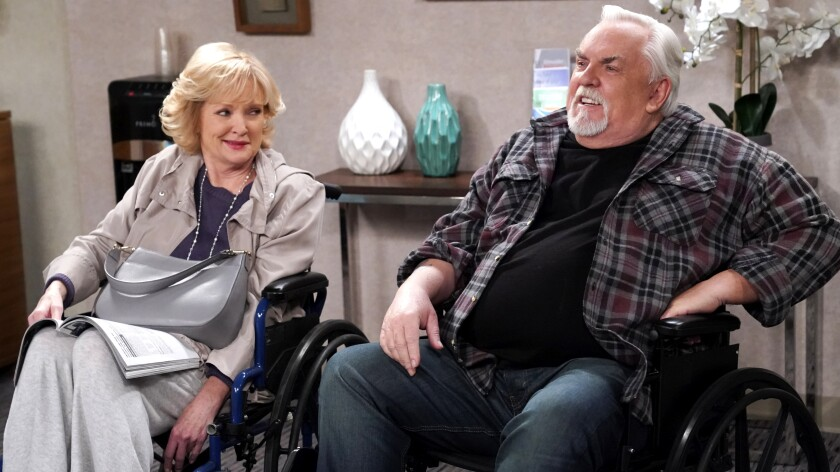 """John Ratzenberger (""""Cheers"""") guest stars as a stroke survivor in a new episode of """"Bob Hearts Abishola"""" on CBS. With Christine Ebersole."""