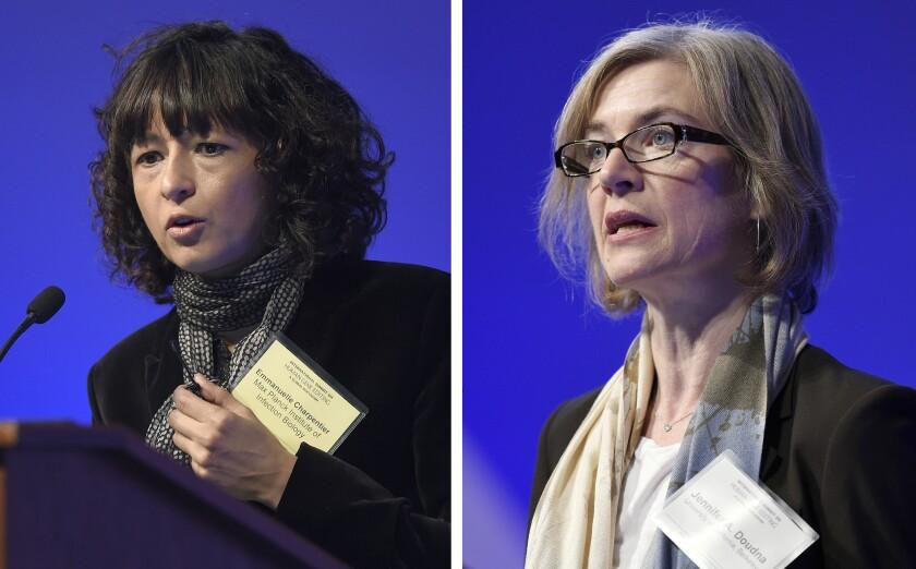 Nobel Prize-winning chemists Emmanuelle Charpentier, left, and Jennifer A. Doudna