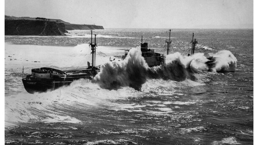 Summer 1961: Aerial photo of the former Greek freighter Dominator pounded by waves off Palos Verdes