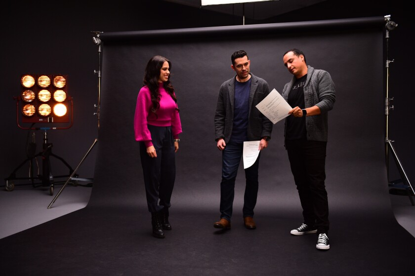 North Hollywood, CA - December 12, 2018 - Hurling Studios: Janelle Marie Rodriguez, Herculez Gomez and Mauricio Pedroza during the Now or Never Campaign.