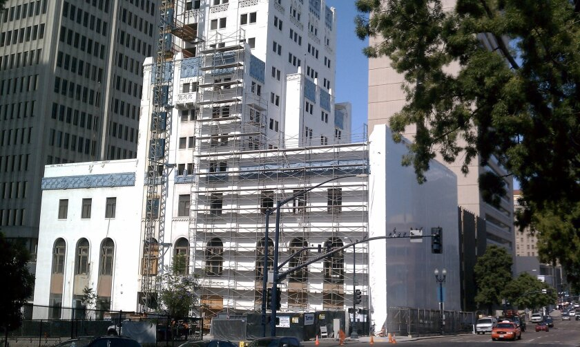 The former San Diego Athletic Club is being converted to a transitional housing shelter for the homeless downtown. Completion is expected by year's end.