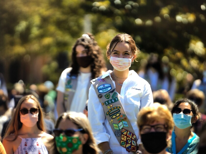 Teen Maria Burritt stands during the 2021 Girl Scout Gold San Diego Award ceremony on Saturday.