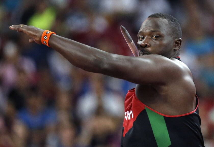 Kenya's Julius Yego competes in the men's javelin throw final at the World Athletics Championships at the Bird's Nest stadium in Beijing, Wednesday, Aug. 26, 2015. (AP Photo/Lee Jin-man)