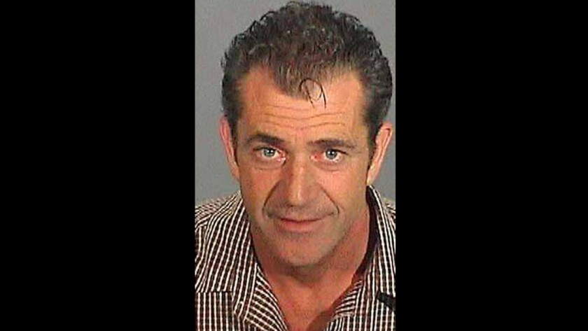 Mel Gibson's booking mug after he was taken into custody in Malibu.