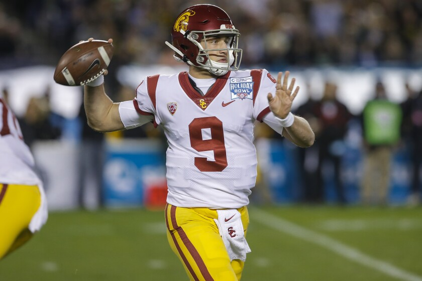 USC quarterback Kedon Slovis looks to pass during the first half of the Holiday Bowl on Dec. 27, 2019.