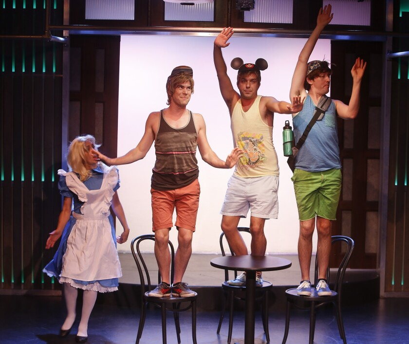 "Lauren Burns, left, Greg Worwick, Chris Eckert and Matt Cook mark the Groundlings' 40th year with a ""Mad Tea Party"" skit"