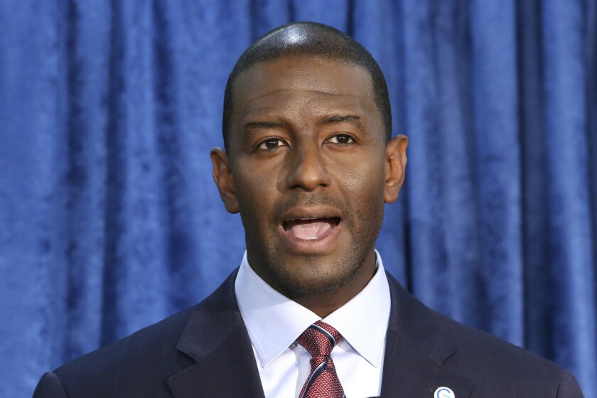 Andrew Gillum speaks at a November 2018 news conference in Tallahassee.