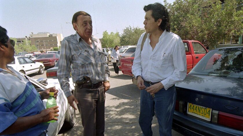 May 24, 1999---Mexicali, Baja California Mexico--Sergio Haro (right) talked with his state-assigned