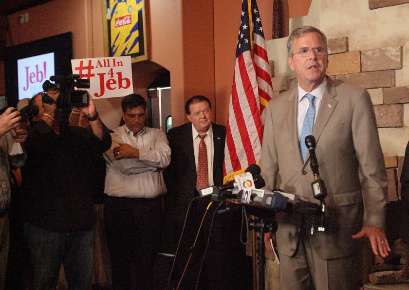 Republican presidential candidate, former Florida Gov. Jeb Bush answers questions during a news conference, Monday Aug. 24. 2015, at Palenque Grill Restaurant in McAllen,Texas. (Delcia Lopez/The Monitor via AP) MAGS OUT; TV OUT MANDATORY CREDIT