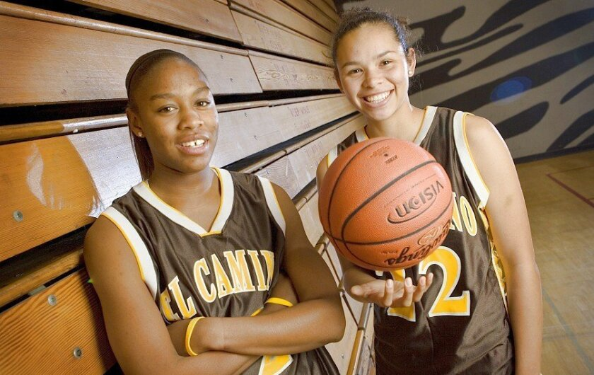 El Camino High School varsity basketball players Shala Kirkpatrick (left) and Ashlie Washington are team leaders for the Wildcats. The team went unbeaten for seven weeks until the streak ended Jan. 22 at Vista.