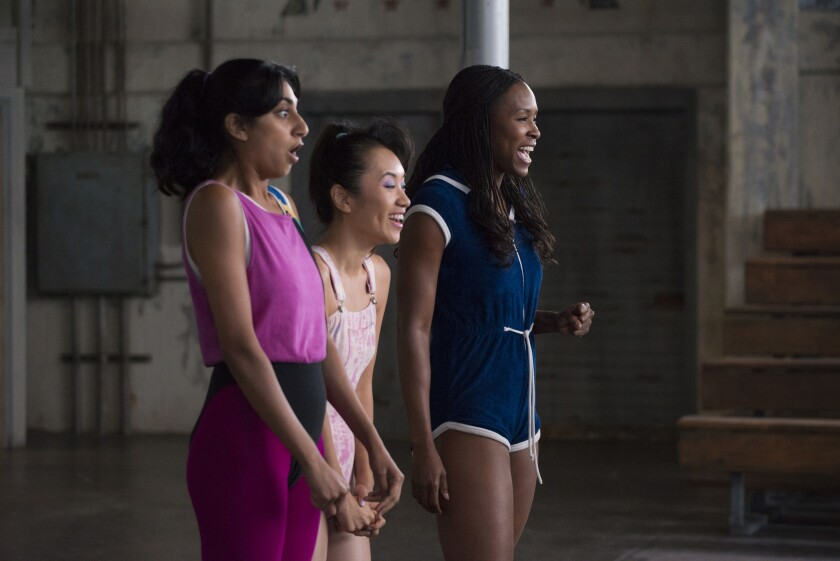 "Sunita Mani, left, Ellen Wong and Sydelle Noel on ""GLOW."""
