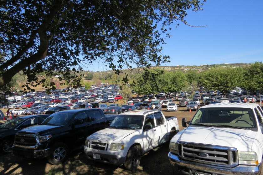 Still early Saturday morning, hundreds of cars were already parked at Bates Nut Farm in Valley Center where the county's most popular pumpkin patch can be found.