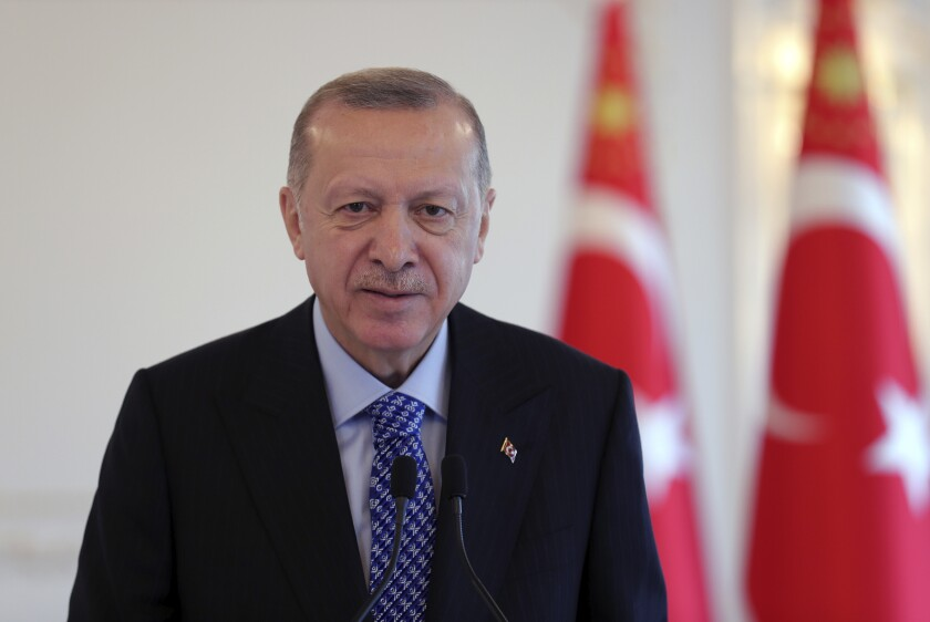 Turkey's President Recep Tayyip Erdogan speaks, in Istanbul, Saturday, Dec. 5, 2020. Erdogan has criticised France for supporting illegally Armenia in Nagorno-Karabakh conflict, a day after he renewed his vitriolic attacks on French President Emmanuel Macron, saying he hopes France will get rid of him soon. (Turkish Presidency via AP, Pool)