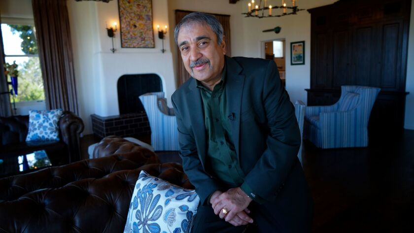 UC San Diego Chancellor Pradeep Khosla at his home during a recent interview with the San Diego Unio