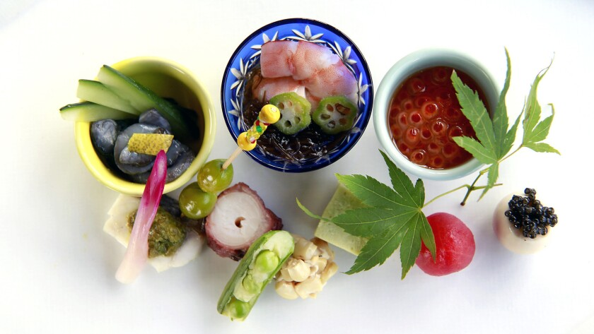 Dishes from chef Shunji Nakao at his restaurant Shunji in West Los Angeles.