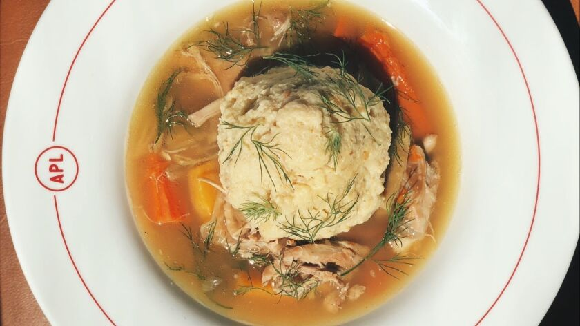A bowl of chef Adam Perry Lang's matzo ball soup at his Hollywood restaurant APL.