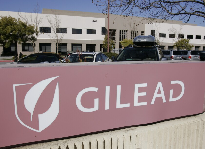 FILE - This Thursday, March 12, 2009, file photo shows Gilead Sciences Inc. headquarters in Foster City, Calif. Scientists in the city at the center of China's virus outbreak have applied to patent a drug made by U.S. company Gilead Science Inc. to treat the disease, possibly fueling more of the conflict over technology policy that helped trigger Washington's tariff war with Beijing. (AP Photo/Paul Sakuma, File)