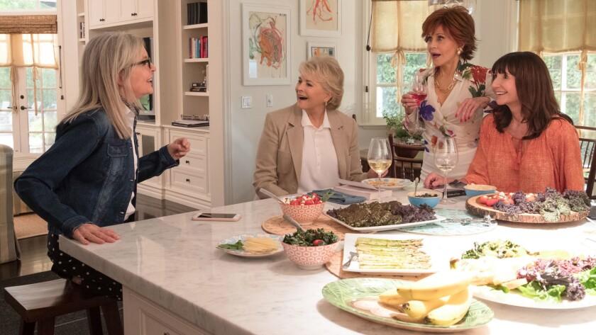 "Diane Keaton, left, Candice Bergen, Jane Fonda and Mary Steenburgen in the movie ""Book Club."""
