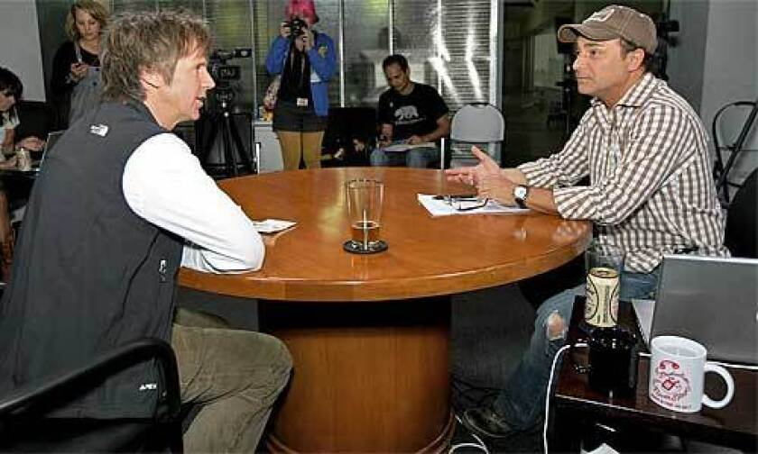 Kevin Pollak interviews comedian Dana Carvey during the 10th episode of Kevin Pollak's Chat Show, filmed in Santa Monica.