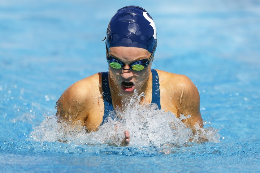 La Costa Canyon's Tegan Preston swims the breaststroke in the 200 yard individual medley during Division 2 Prelims on Thursday.