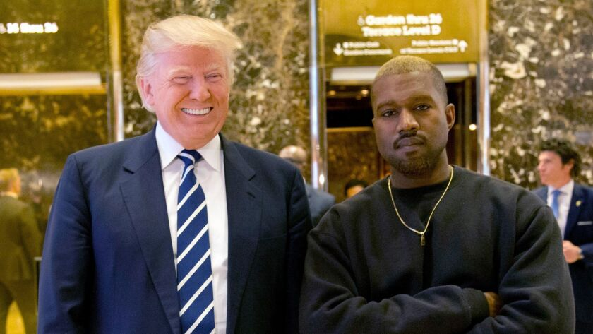 Then-President-elect Donald Trump and Kanye West on Dec. 13, 2016.